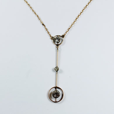 Vintage 9ct Rose Gold Diamond Necklace