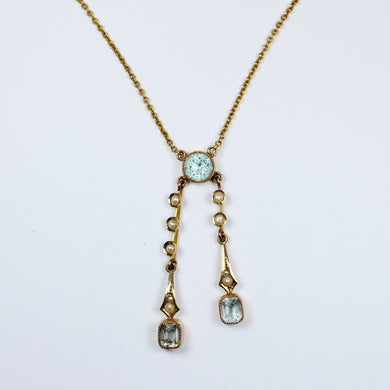 9ct Yellow Gold Aquamarine and Pearl Necklace