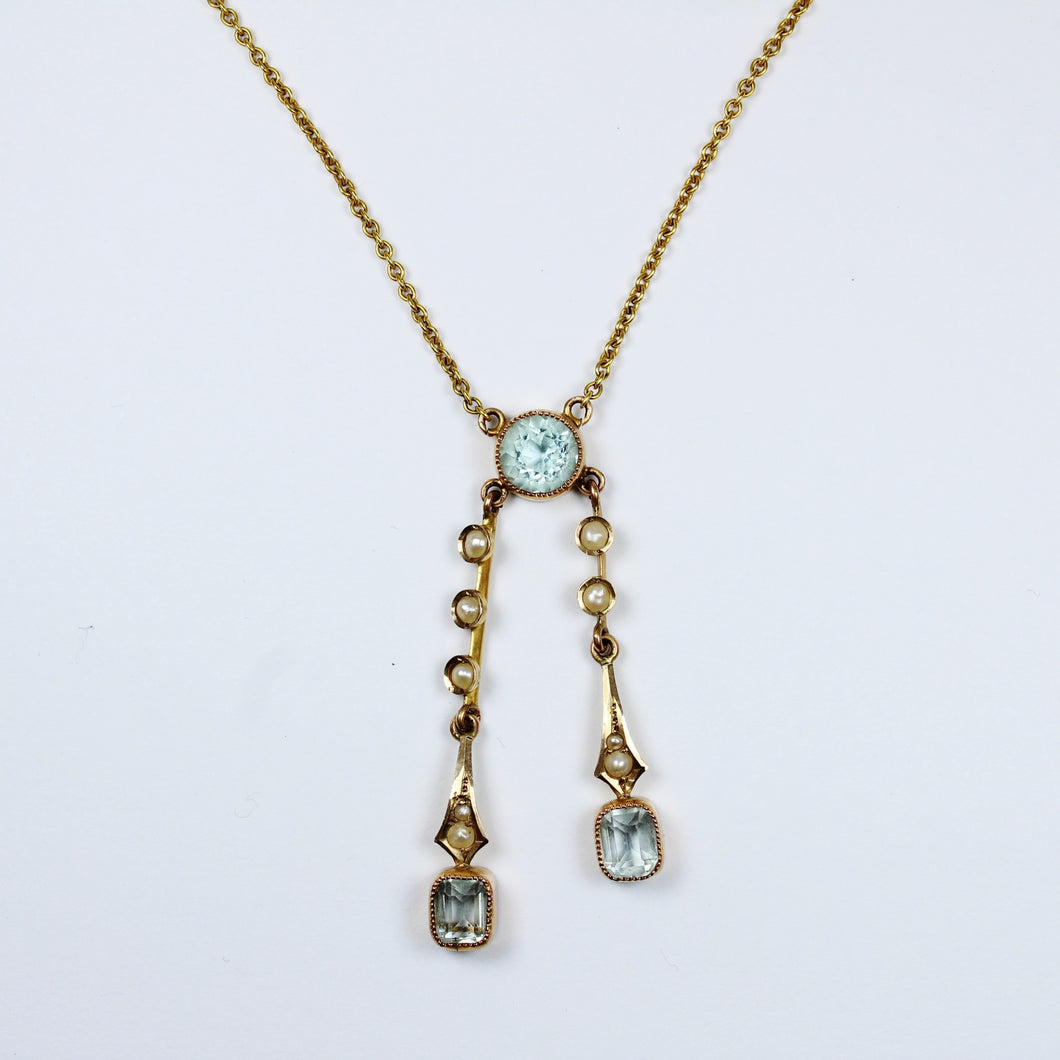 Antique 9ct Yellow Gold Aquamarine and Pearl Necklace