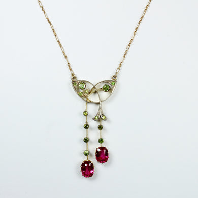 Antique 9ct Yellow Gold Peridot and Synthetic Pink Topaz Necklace