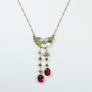 Antique Art Nouveau 9ct Yellow Gold Peridot and Synthetic Pink Topaz Necklace