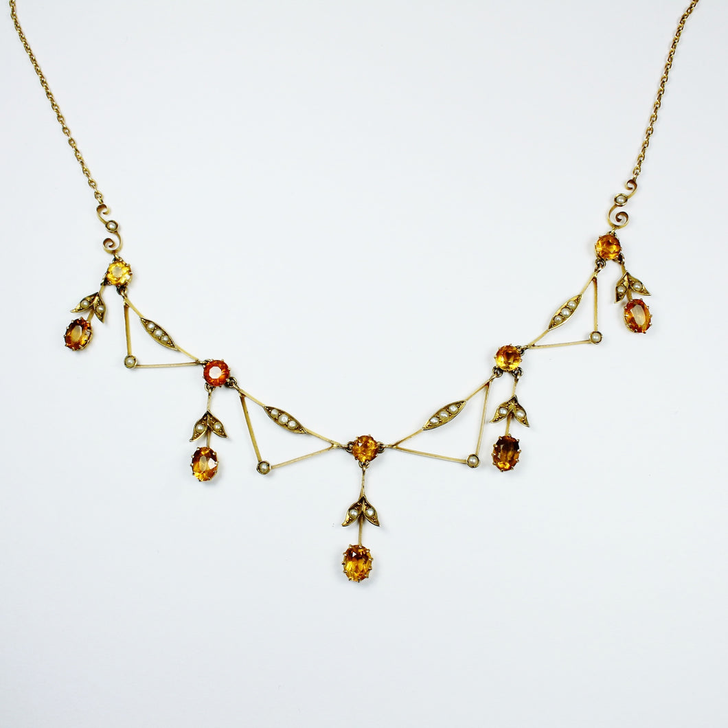 9ct Yellow Gold Citrine and Pearl Necklace