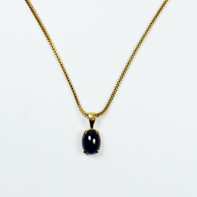 18ct Yellow Gold Box Chain with Sapphire Pendant