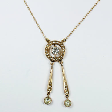 14 ct Yellow Gold Aquamarine and Pearl Necklace