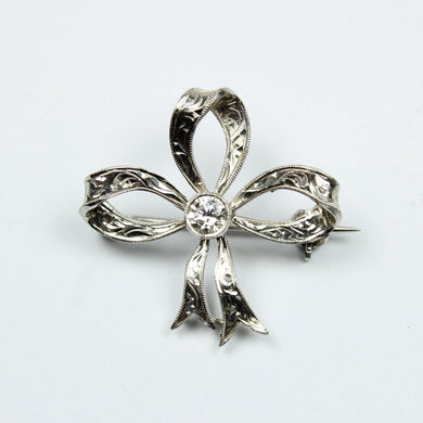 Antique 18ct White Gold Diamond Engraved Ribbon Brooch/ Pendant