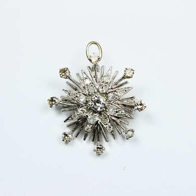 18ct White Gold Diamond Star Brooch/ Pendent