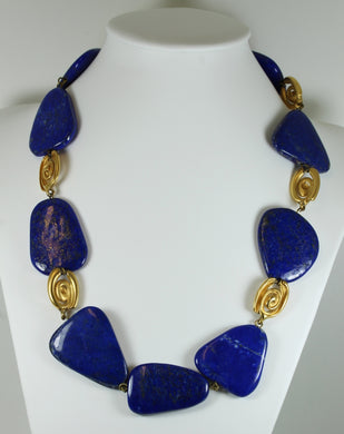 Modernist Style Lapis Lazuli and Gold Swirl Necklace