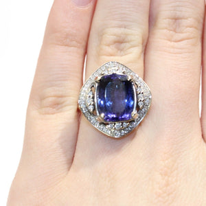 Large Cushion Cut Tanzanite and Diamond Dress Ring