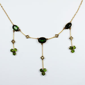 Antique 9ct Yellow Gold Peridot and Green Tourmaline Necklace
