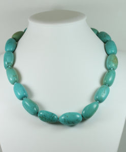 Modernist Style Turquoise Bead Necklace With Sterling Silver Clasp