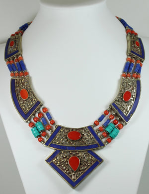 Silver Set Lapis Lazuli, Turquoise And Coral Necklace