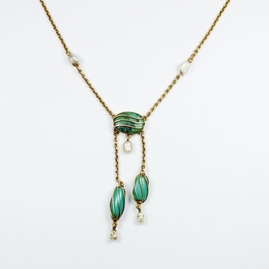 14ct Yellow Gold Turquoise and Pearl Necklace