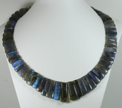 Art Deco Style Labradorite Collar Necklace With Silver Clasp