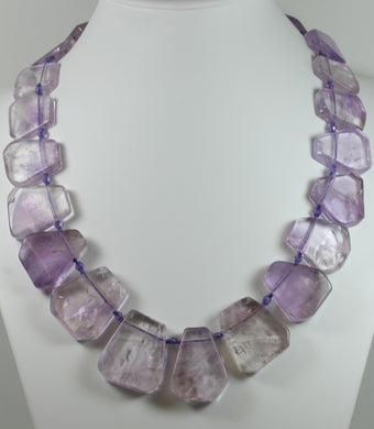 Modernist Style Amethyst Bead Necklace With Sterling Silver Hook Clasp