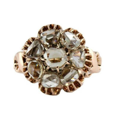 Antique 9ct Rose Gold Foiled-Back Diamond Cluster Ring