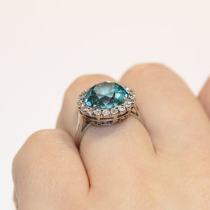 1930's Blue Zircon and Diamond Engagement Ring