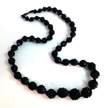 Victorian Rose Carved Whitby Jet Necklace