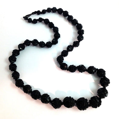Antique Victorian Rose Carved Whitby Jet Necklace