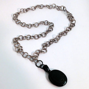 Antique Victorian Mourning Locket in Whitby Jet