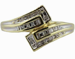 Vintage 9ct Yellow Gold Baguette Diamond Dress Ring