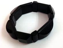Elasticated Whitby Jet Deco Bracelet