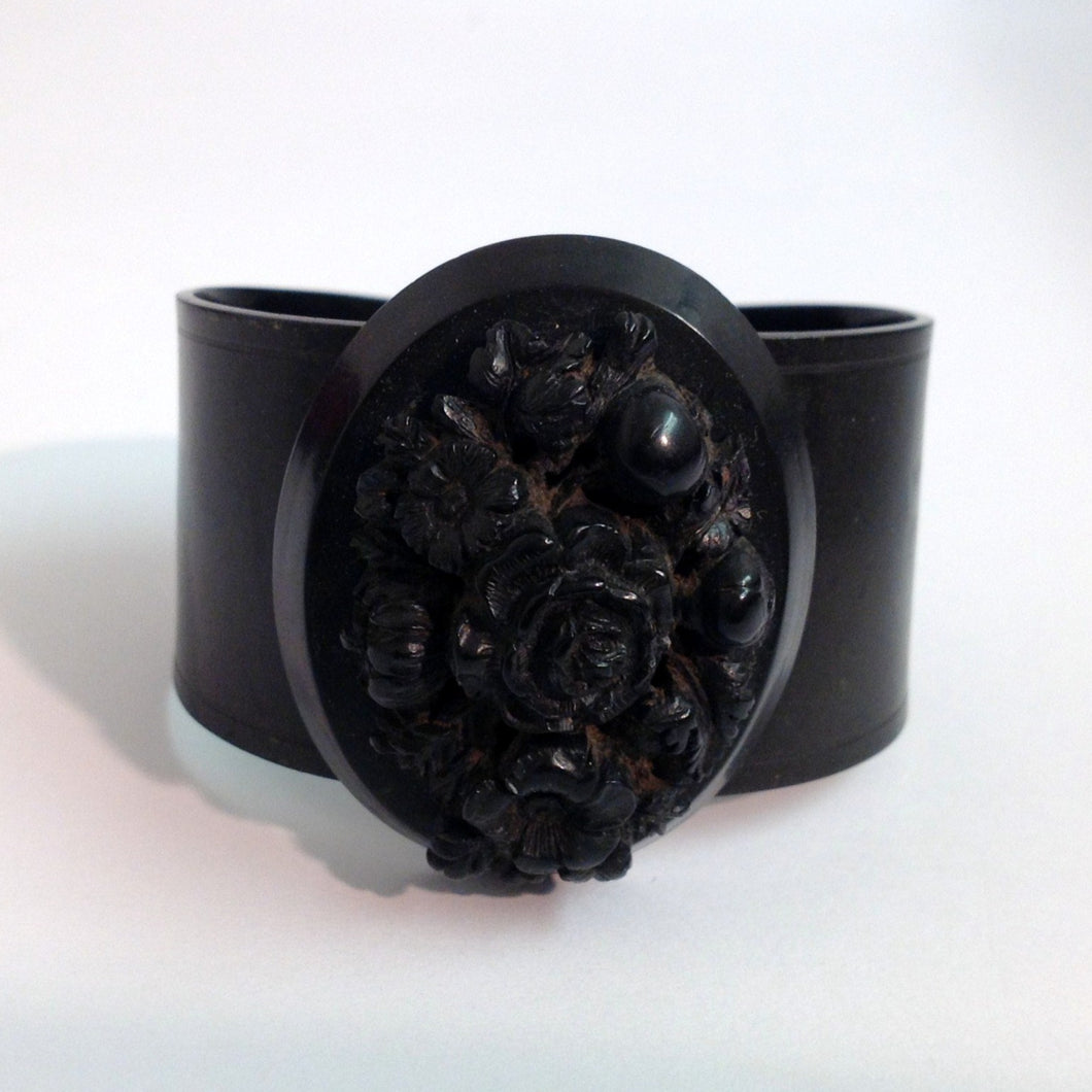 Antique Victorian Carved Whitby Jet Floral Cuff