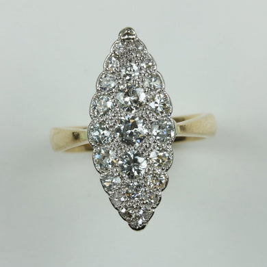 Antique Platinum Diamond Marquise Cluster Dress Ring