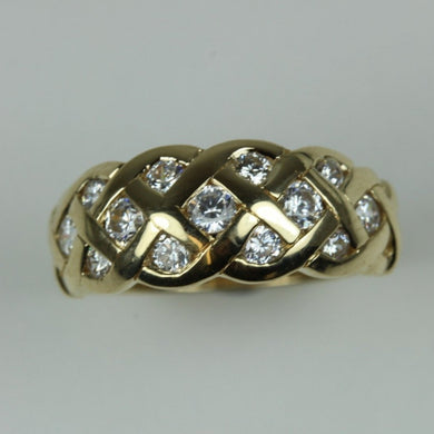 14ct Yellow Gold Weave Diamond Ring
