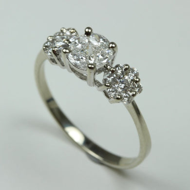18ct White Gold Diamond Trilogy Cluster Ring