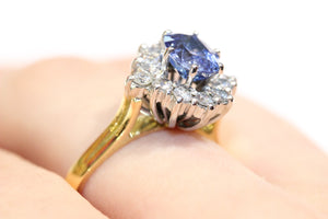 Vintage Synthetic Sapphire amd Diamond Ring