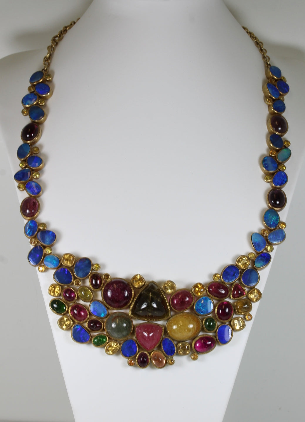 Lapis Lazuli, Tourmaline, Citrine, Peridot Stones Set In A Gold Plated Sterling Silver Necklace With a Shepheard Hook Clasp
