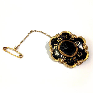 "Antique 9ct Yellow Gold ""In Memory Of"" Black Enamel Mourning Brooch"