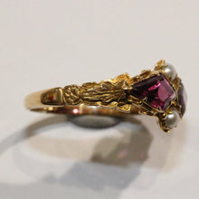 Antique 18ct Yellow Gold Garnet and Seed Pearl Dress Ring