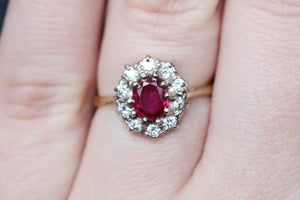 18k 1.05ct Antique Ruby and Diamond Ring