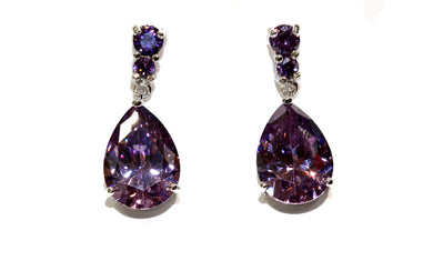 Purple Crystal CZ Earrings