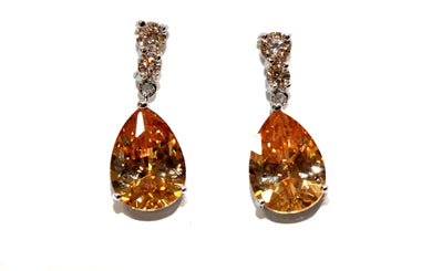 Peach Crystal CZ Earrings
