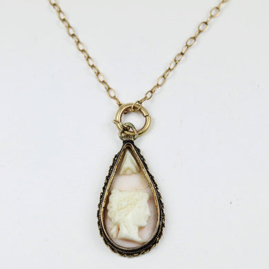 9ct Rose Gold Conch Shell Cameo Pendant with Chain