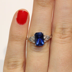 18ct White Gold Claw Set 3.09ct Baguette Blue Sapphire and Diamond Ring