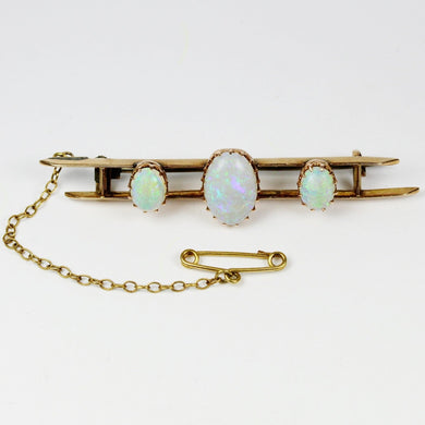 Antique 9ct Rose Gold Solid Opal Bar Brooch