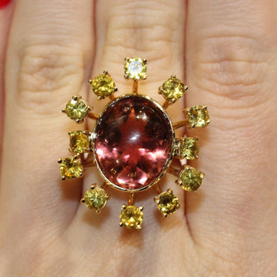 14.73ct Peach Tourmaline and Yellow Sapphire Ring