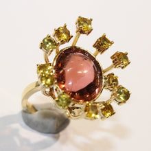 9ct Yellow Gold 14.73ct Cabochon Oval Cut Peach Tourmaline with Surrounding Yellow Sapphire Cocktail Ring
