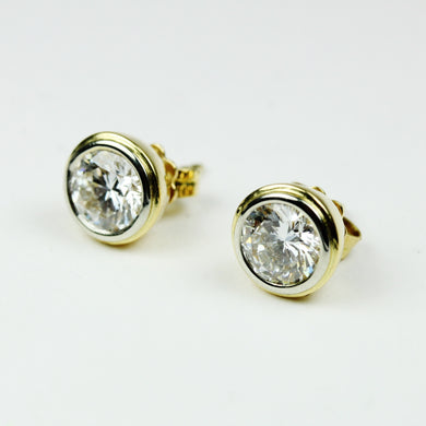 18ct Yellow Gold 2.26ct Double Bezel Set Brilliant Cut Diamond Stud Earrings