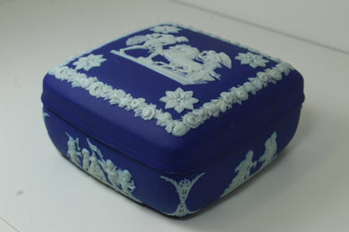 Wedgewood Aesculapius Cobalt Blue Dark Dip Jasperware Square Trinket Box