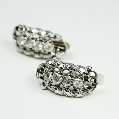 18ct White Gold and Diamond clasp Earrings