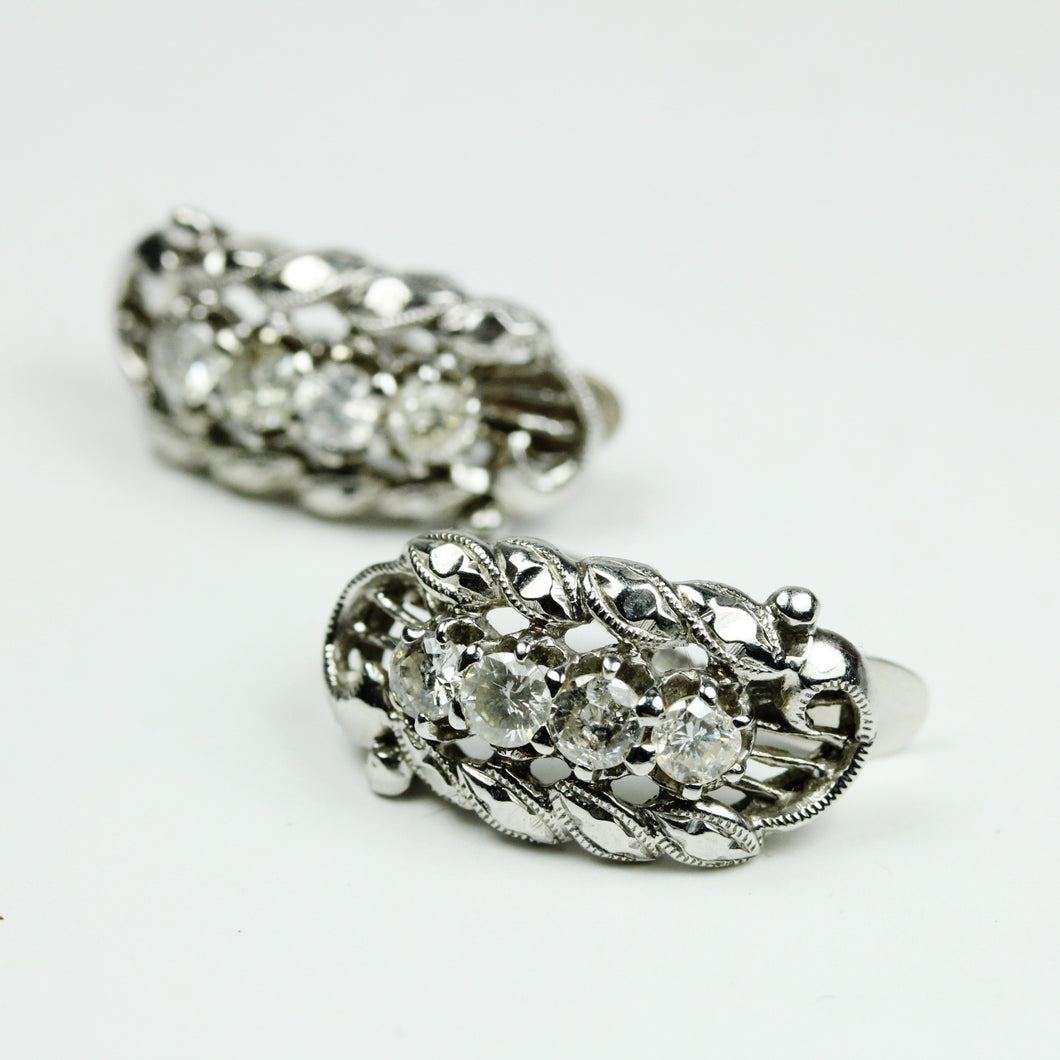 18ct White Gold Diamond Back Clasp Earrings