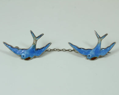Vintage Sterling Silver Blue Bird Enamel Brooch