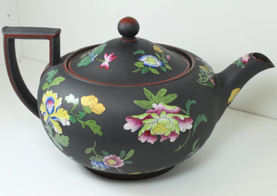 Black Hand Painted Enamel Floral Wedgwood Ceramic Tea Pot