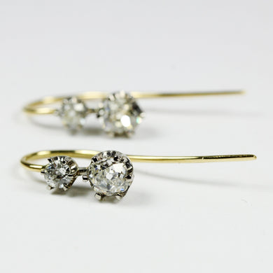 9ct Yellow Gold Od Cut Diamond Dangle Earrings