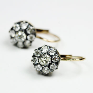 9ct White Gold Rose Cut Diamond Cluster Earrings