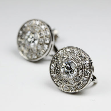 Antique Art Deco 9ct White Gold Diamond Earrinigs